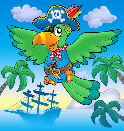 pirate boat: Flying pirate parrot with boat - color illustration. Stock Photo