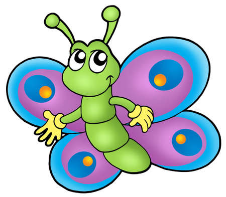 butterfly garden: Small cartoon butterfly - color illustration.