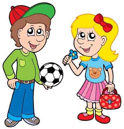 baseball cap: Cartoon boy and girl - vector illustration.