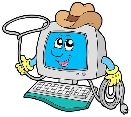 Cowboy computer on white background - vector illustration. Vector