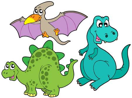 herbivore: Dinosaur collection on white background - vector illustration. Illustration