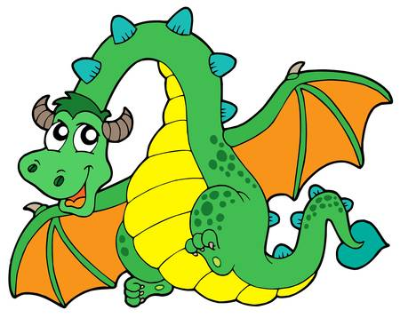 cute cartoons: Flying green dragon - vector illustration.