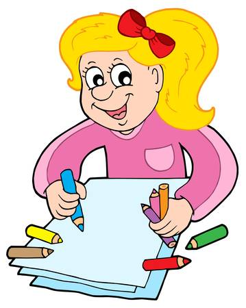 Girl with crayons - vector illustration. Stock Vector - 4458902