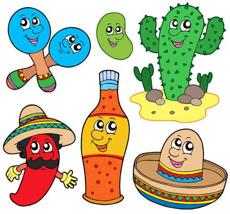 Collection du Mexique cartoon - illustration vectorielle.