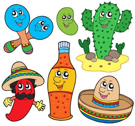 Mexican cartoon collection - vector illustration.