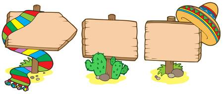 Mexican wooden signs - vector illustration. Vector