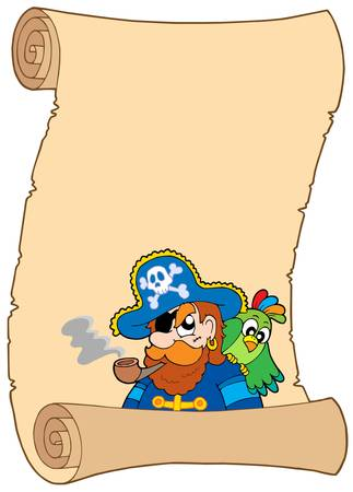 sea robber: Old pirate scroll - vector illustration.