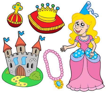 trono real: Princesa recogida en el fondo blanco - ilustraci�n vectorial.