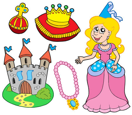 Princess collection on white background - vector illustration.