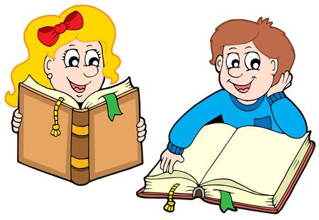 Reading boy and girl - vector illustration.