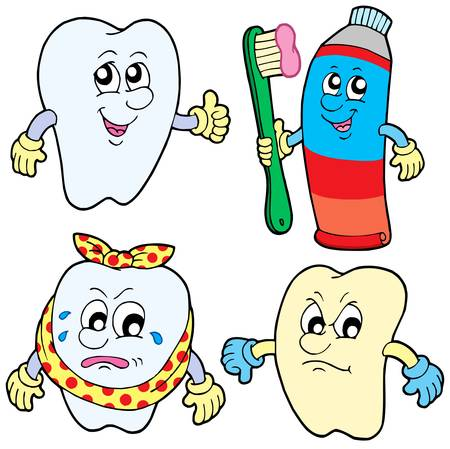 cavities: Tooth collection 1 on white background - vector illustration.