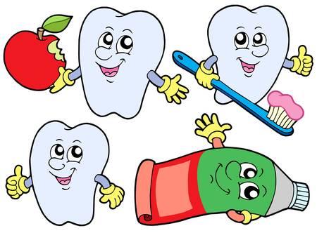 diente caricatura: 2 dientes de recogida en el fondo blanco - ilustraci�n vectorial.