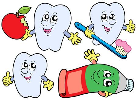 paste: Tooth collection 2 on white background - vector illustration. Illustration