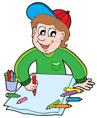 Boy with crayons - vector illustration.