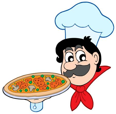 Cartoon chef with pizza - vector illustration. Vector