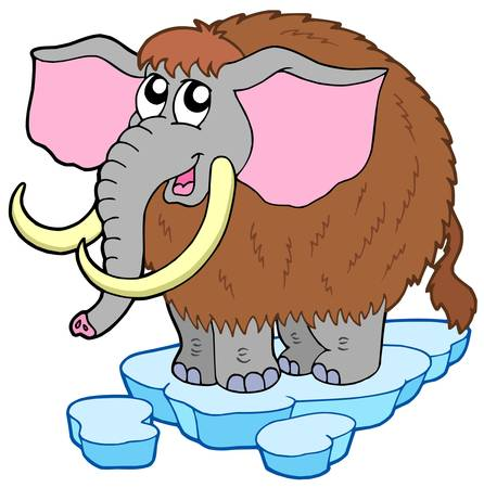 mammoth: Cartoon mammoth on white background - vector illustration.