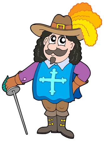 Cartoon musketeer on white background - vector illustration. Illustration