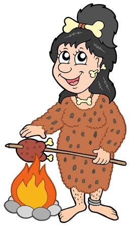 Cartoon prehistoric woman - vector illustration.
