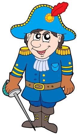 Cartoon soldier in blue uniform - vector illustration. Vector