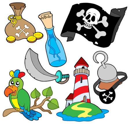 Pirate collection 6 on white background - vector illustration. Illustration