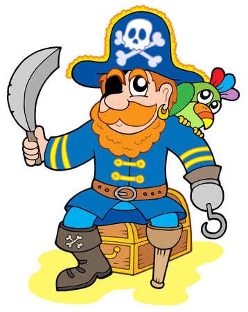 corsair: Pirate sitting on treasure chest - vector illustration.