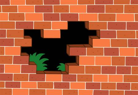 uncomplete: Red brick wall - vector illustration. Illustration