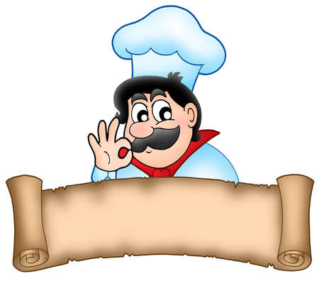 yummy: Banner with cartoon chef - color illustration.