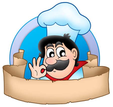 food logo: Cartoon chef logo with banner - color illustration.