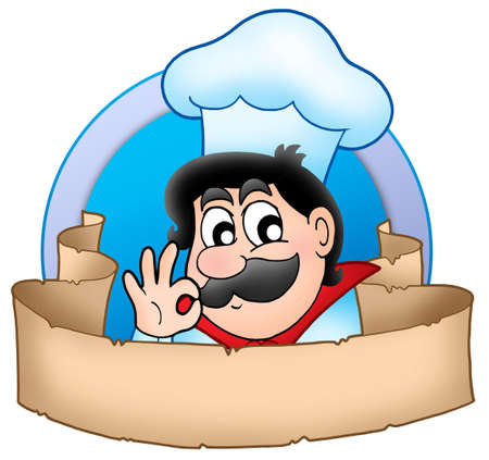 Cartoon chef logo with banner - color illustration.