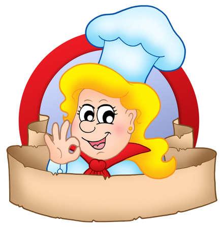 chef cocinando: Caricatura Chef mujer pancarta con el logotipo - color ilustraci�n. Foto de archivo
