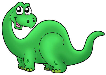 Cute cartoon dinosaur - color illustration.