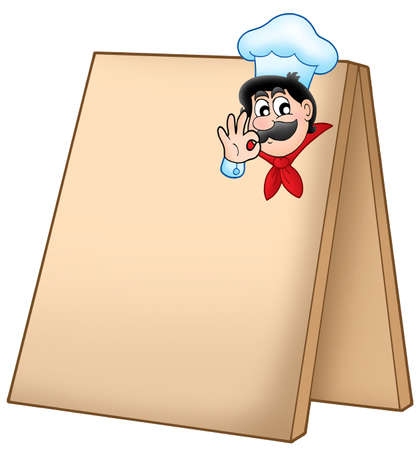 Menu board with cartoon chef - color illustration. illustration