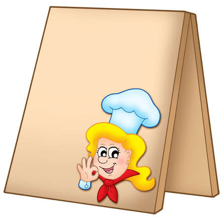 blonde females: Menu board with cartoon chef woman - color illustration. Stock Photo