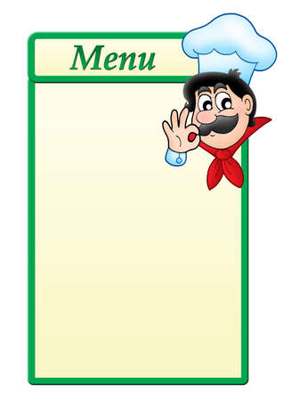 Menu template with cartoon chef - color illustration. illustration