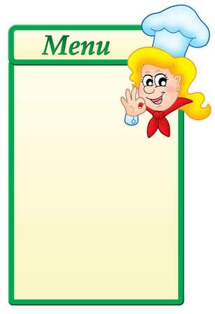 cartoon menu: Menu  template with cartoon chef woman - color illustration.