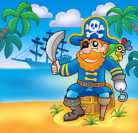 buccaneer: Pirate sitting on chest with ship - color illustration.