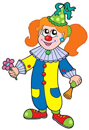 Cartoon clown girl - vector illustration.
