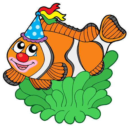 Cartoon clownfish in anemone - vector illustration. Stock Vector - 4534693