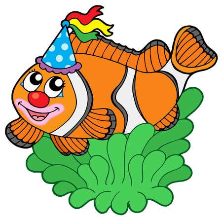 Cartoon clownfish in anemone - vector illustration. Illustration