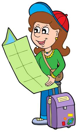 people traveling: Cartoon girl traveller - vector illustration.