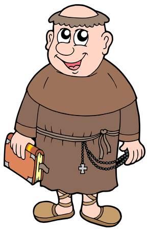 monk: Cartoon monk on white background - vector illustration. Illustration