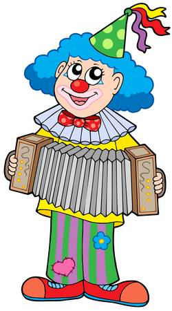 Clown with accordion - vector illustration. Illustration