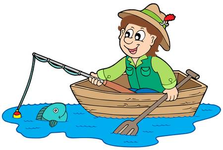 fisherman boat: Fisherman in boat - vector illustration. Illustration