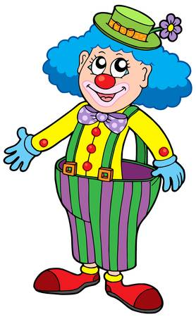 Funny clown in big pants - vector illustration. Vector
