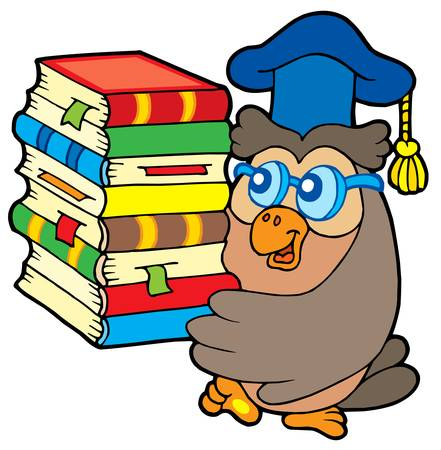 master volume: Owl teacher holding pile of books - vector illustration.