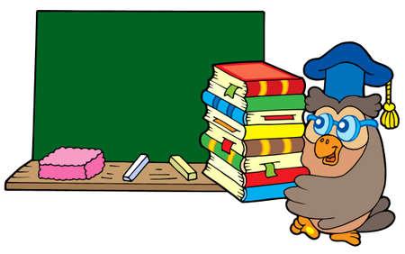 buho graduacion: Owl maestro con los libros y la pizarra - ilustraci�n vectorial. Vectores