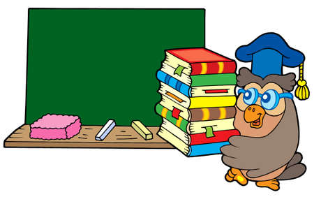 master volume: Owl teacher with books and blackboard - vector illustration.