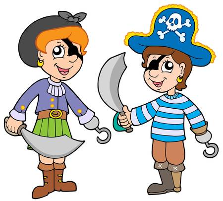 pirate girl: Pirate boy and girl - vector illustration.