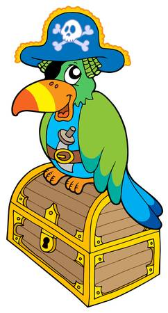 corsair: Pirate parrot sitting on chest -  vector illustration. Illustration