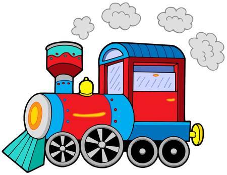 Locomotora a vapor en el fondo blanco - ilustración vectorial.